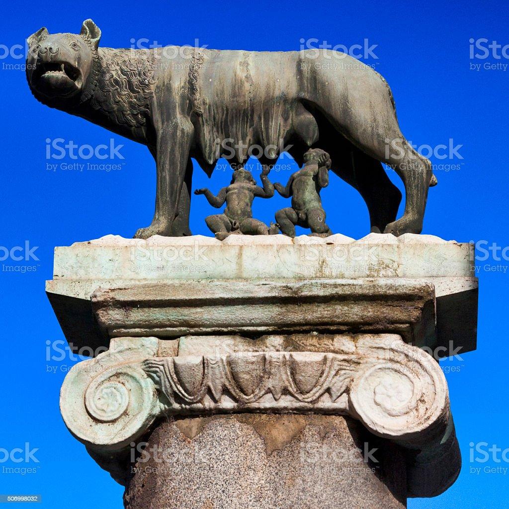 Capitoline Wolf at Palazzo del Campidoglio in Rome, Italy stock photo