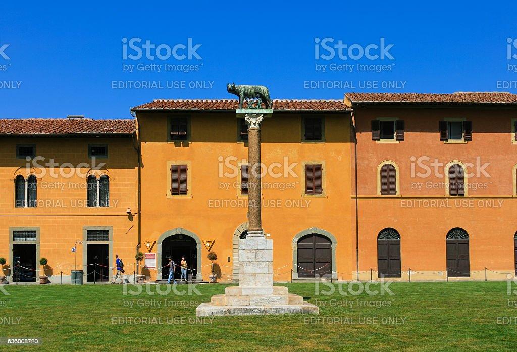 Capitoline Wolf Sculpture, Palazzo dell'Opera, Piazza del Duomo, Pisa, Italy. stock photo