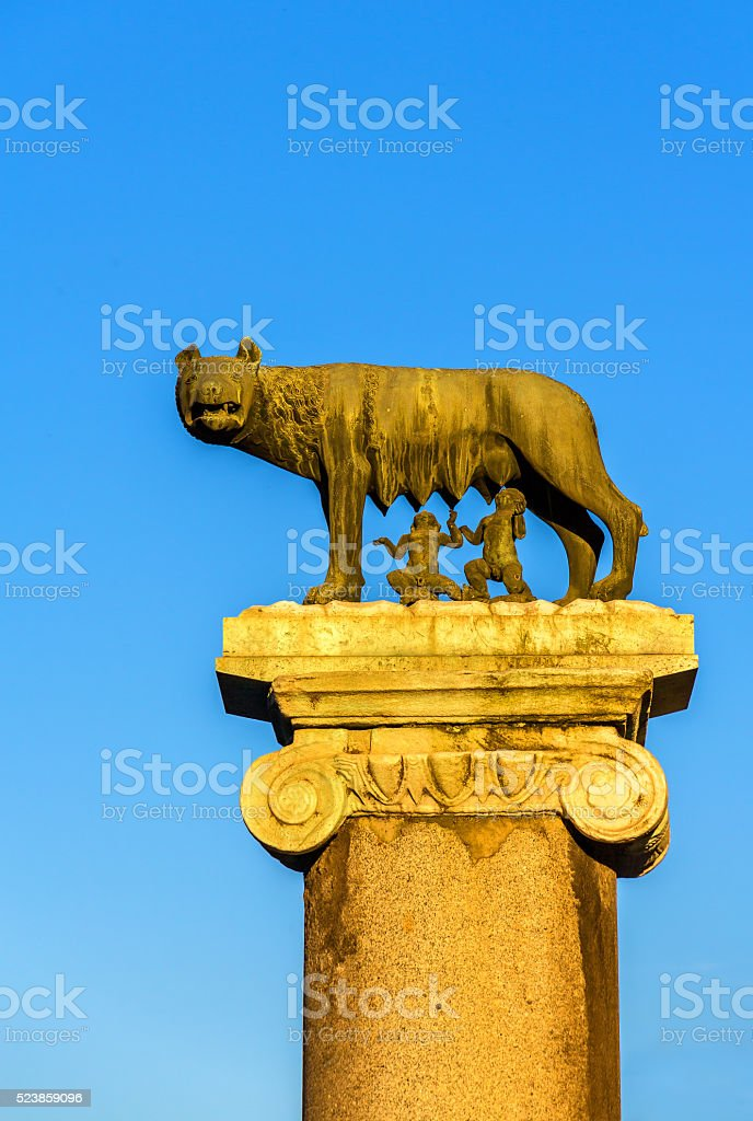 Capitoline Wolf statue in Rome, Italy stock photo