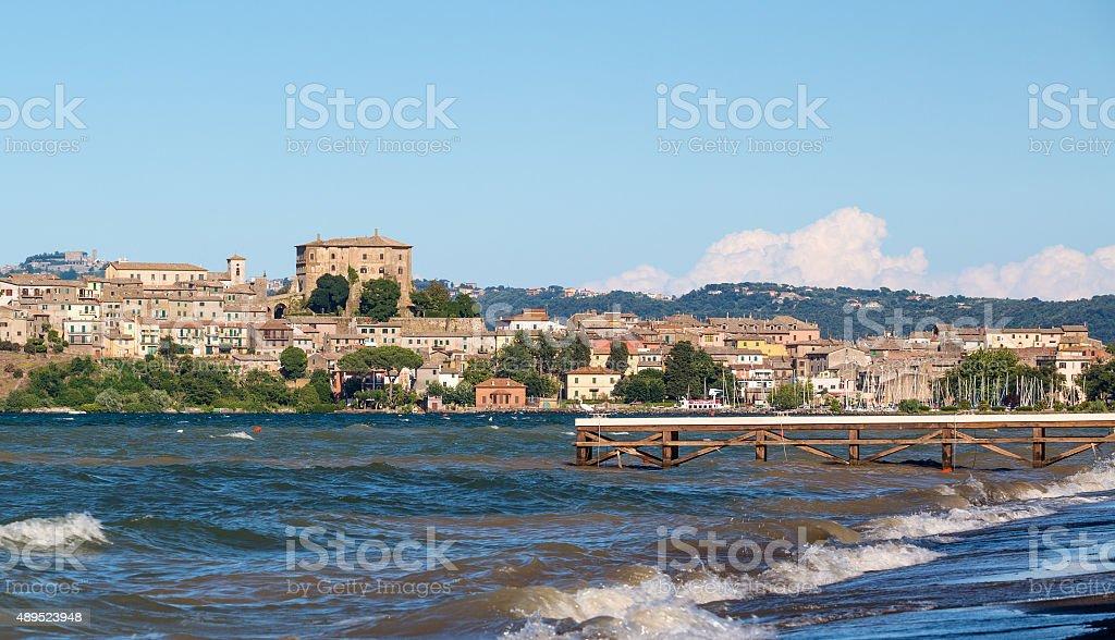 Capodimonte skyline by Lake Bolsena, Province of Viterbo Lazio Italy stock photo