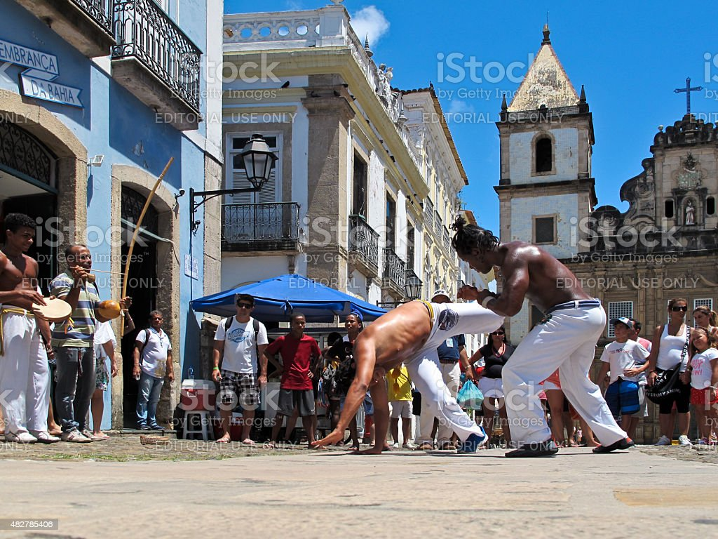 Capoeira Dance Fight in Pelourinho?s Street in Salvador Bahia Brazil stock photo