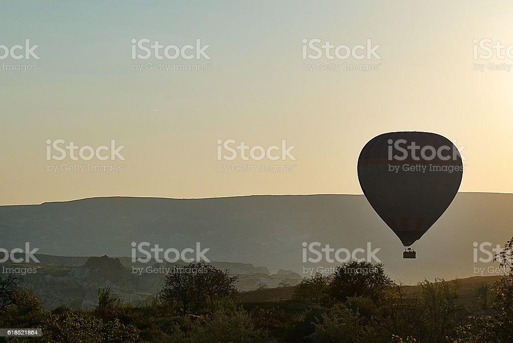Cappadocia air balloon in foggy morning stock photo