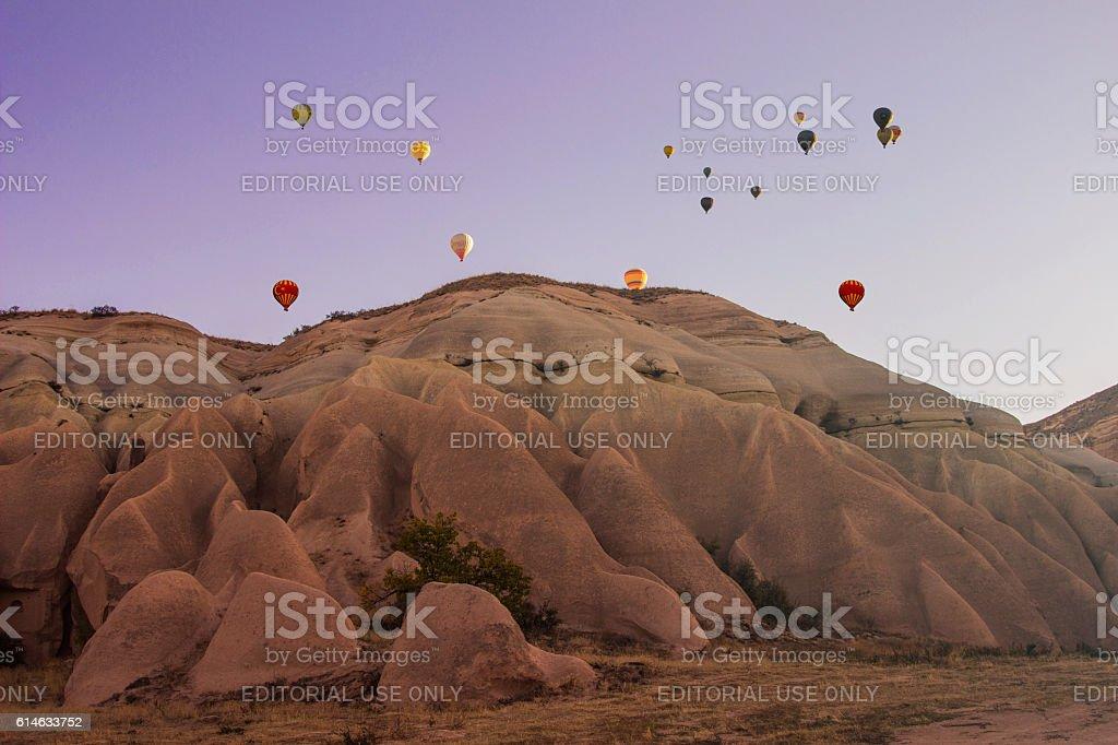cappadocia baloons stock photo