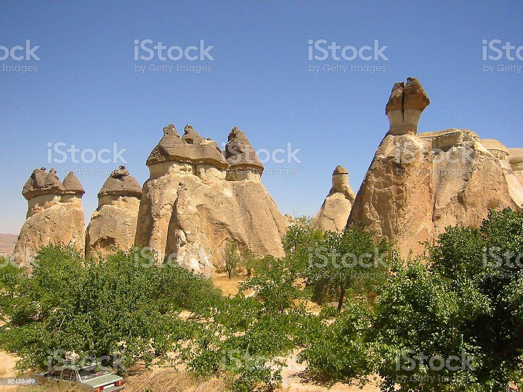 cappadocia fairy chimneys tufa houses turkey royalty-free stock photo