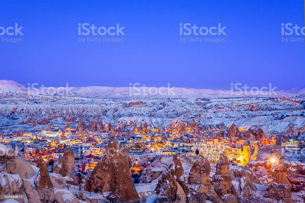 Cappadocia of winter stock photo