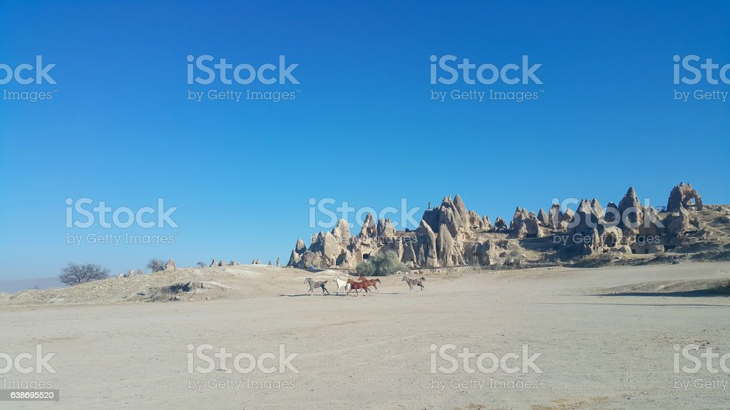 Cappadocia rock formations and horses in Goreme stock photo