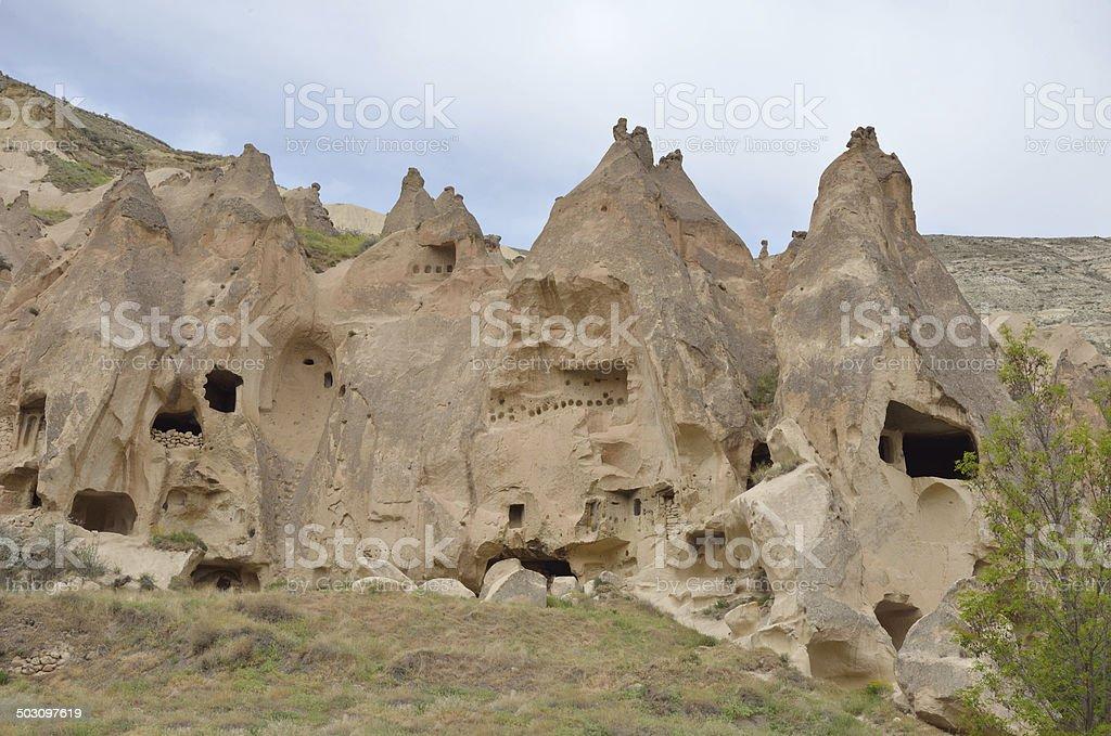 Cappadocia rock shapes stock photo