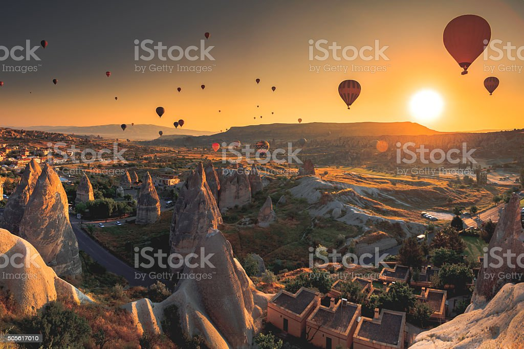 Cappadocia valley at sunrise stock photo