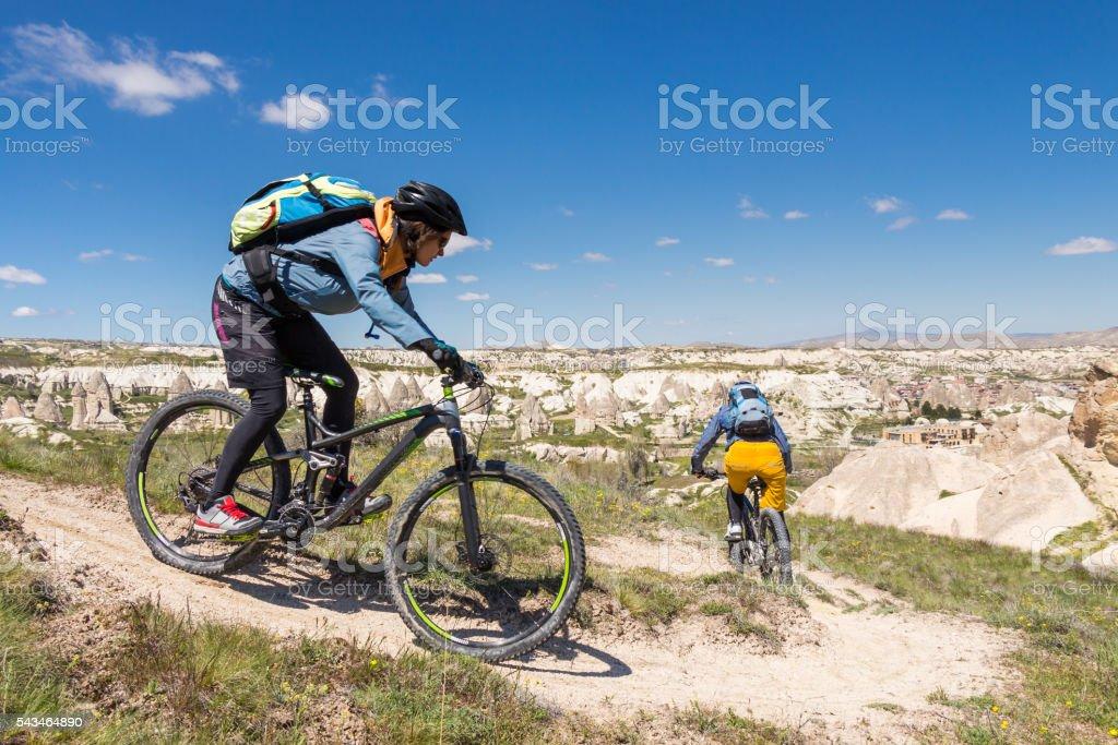 Cappadocian Single Trail Biking, Turkey stock photo