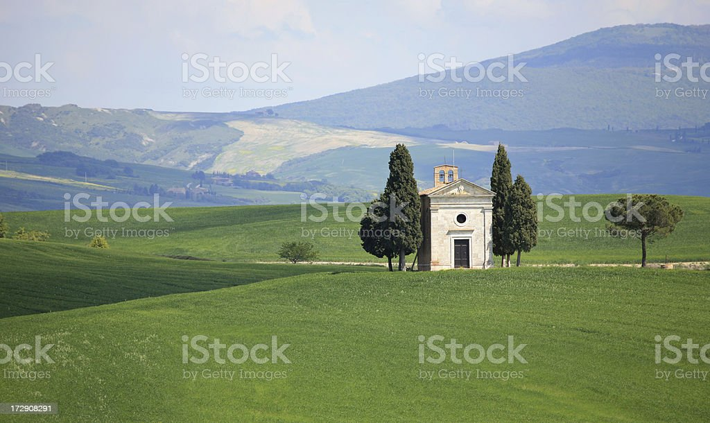 Cappella di Vitaleta in Val d'Orcia, Tuscany Italy royalty-free stock photo