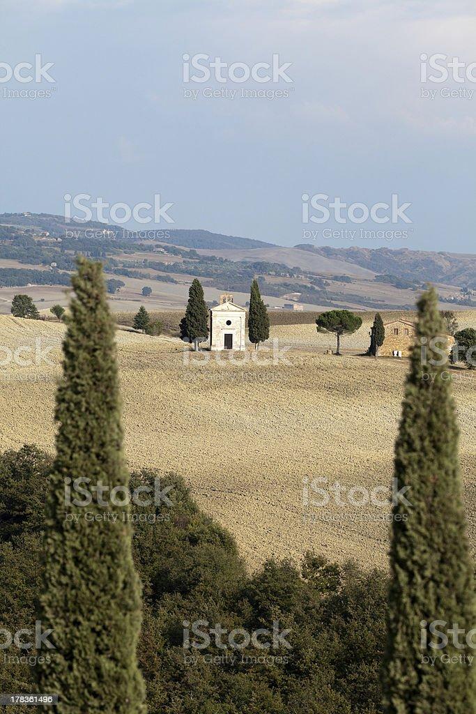 Cappella di Vitaleta , Val d'Orcia in Tuscany royalty-free stock photo