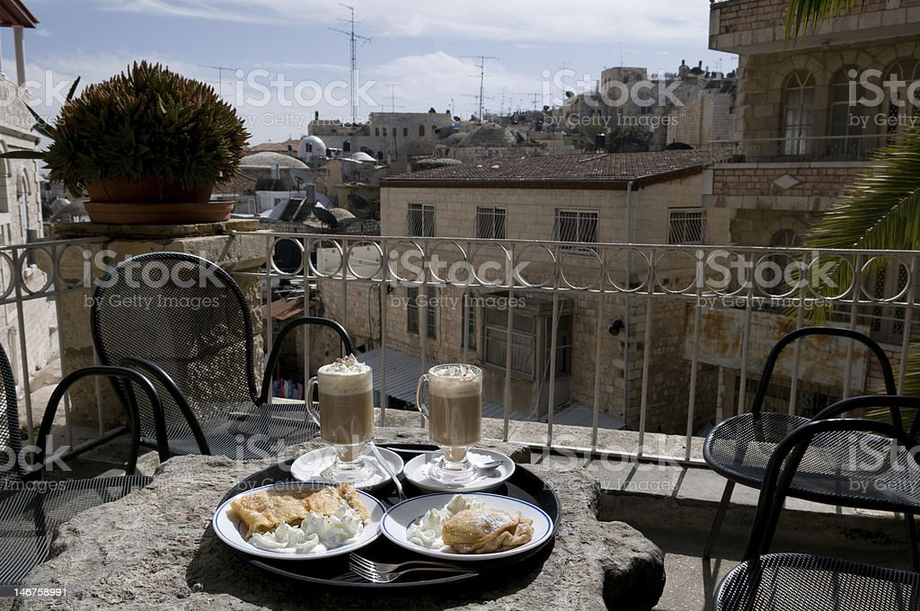 Cappuccino and Apfelstrudel in Jerusalem royalty-free stock photo