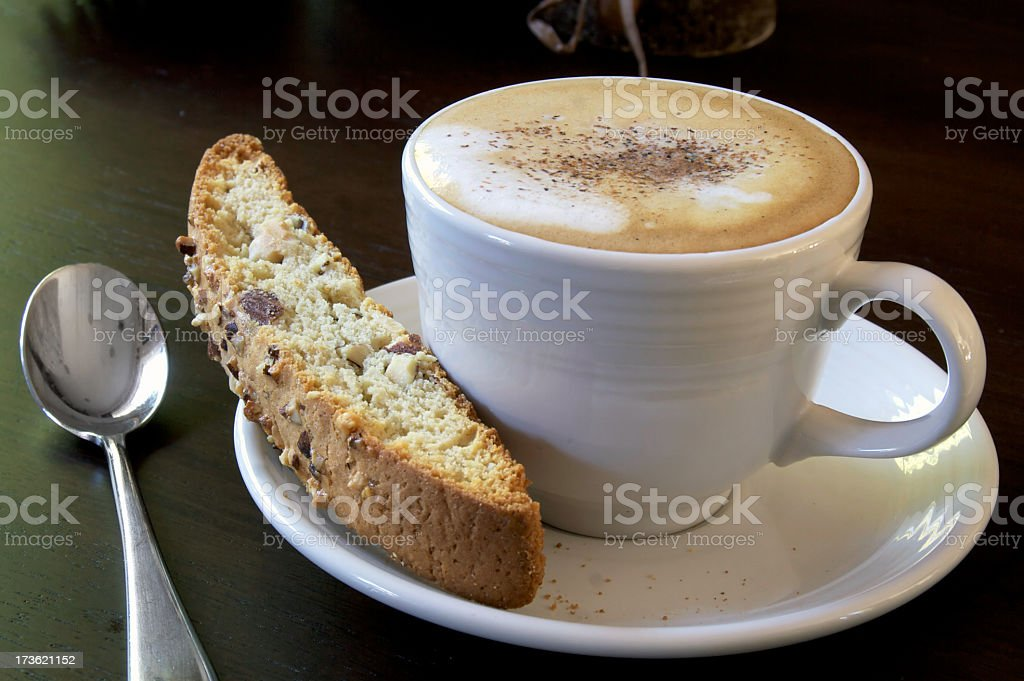 Cappuccino and biscotti royalty-free stock photo