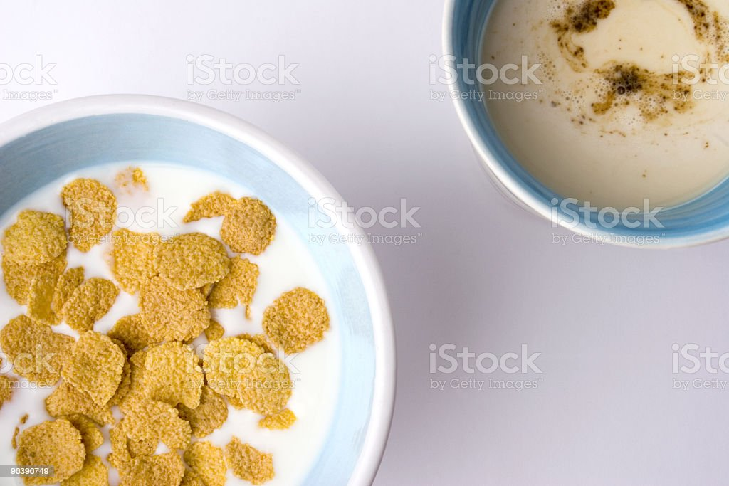 cappuccino and bowl of cereal royalty-free stock photo
