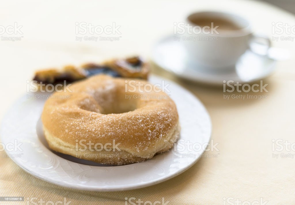 Cappuccino and donut royalty-free stock photo