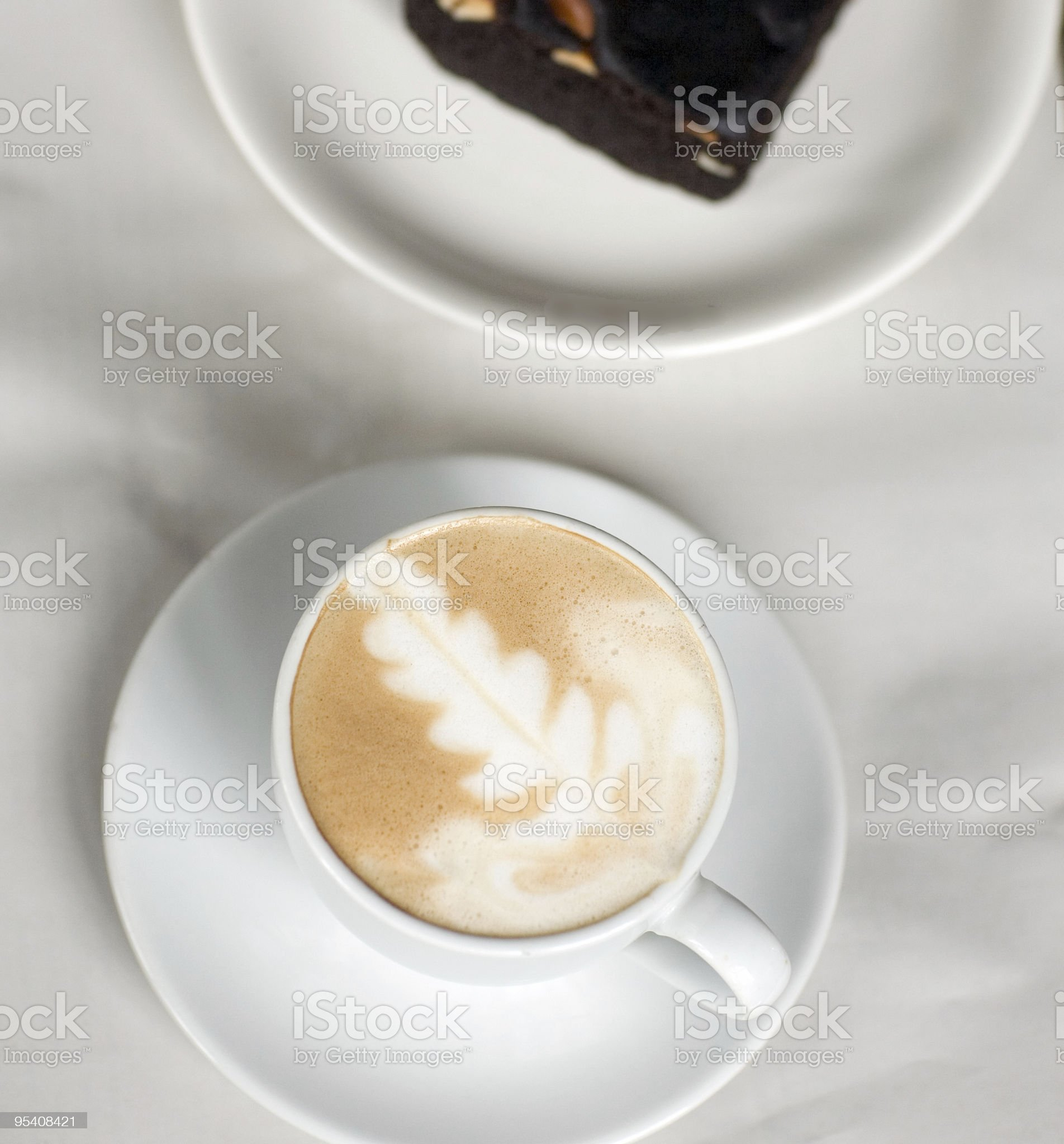 cappuccino and fudge brownie top shot royalty-free stock photo