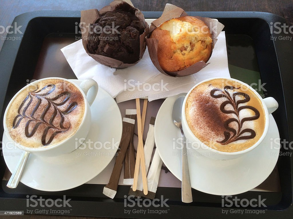 Cappuccino and Muffins stock photo