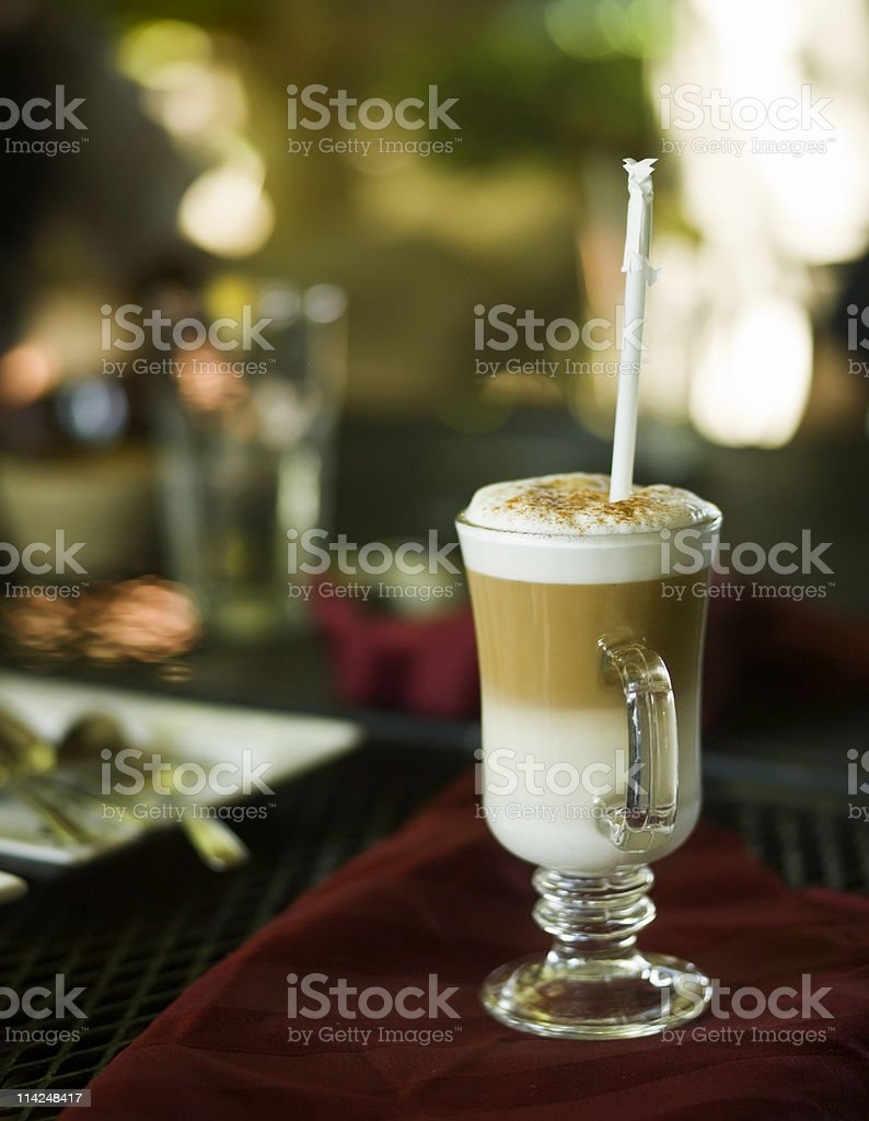 Cappuccino at the sidewalk cafe royalty-free stock photo