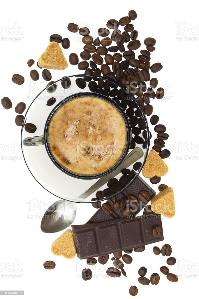 Cappuccino, brown sugar and coffee beans royalty-free stock photo