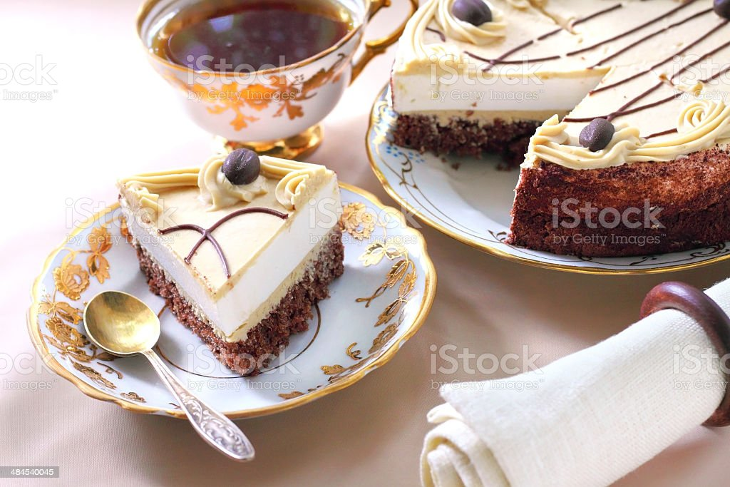 Cappuccino cake with chocolate biscuit royalty-free stock photo
