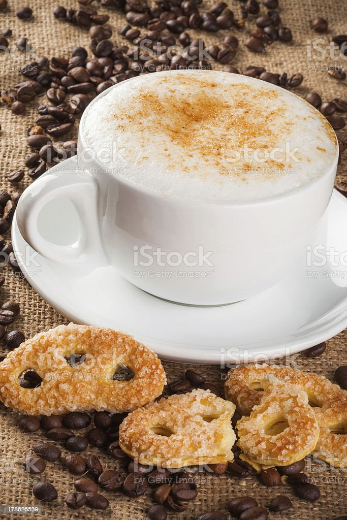Cappuccino coffee and cake royalty-free stock photo