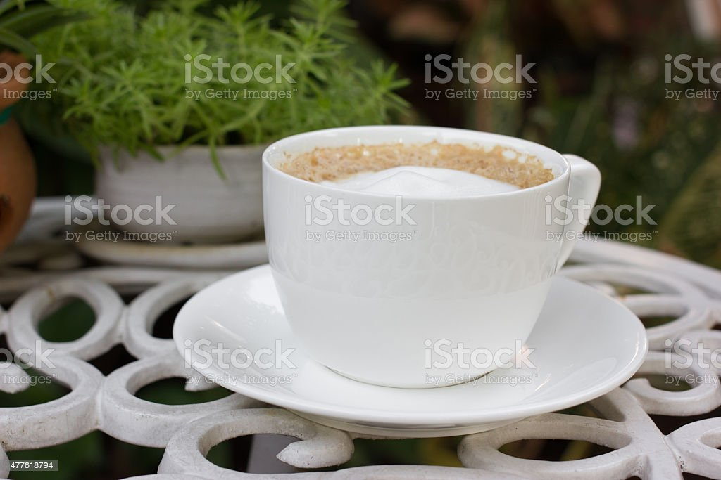 Cappuccino coffee cup. stock photo