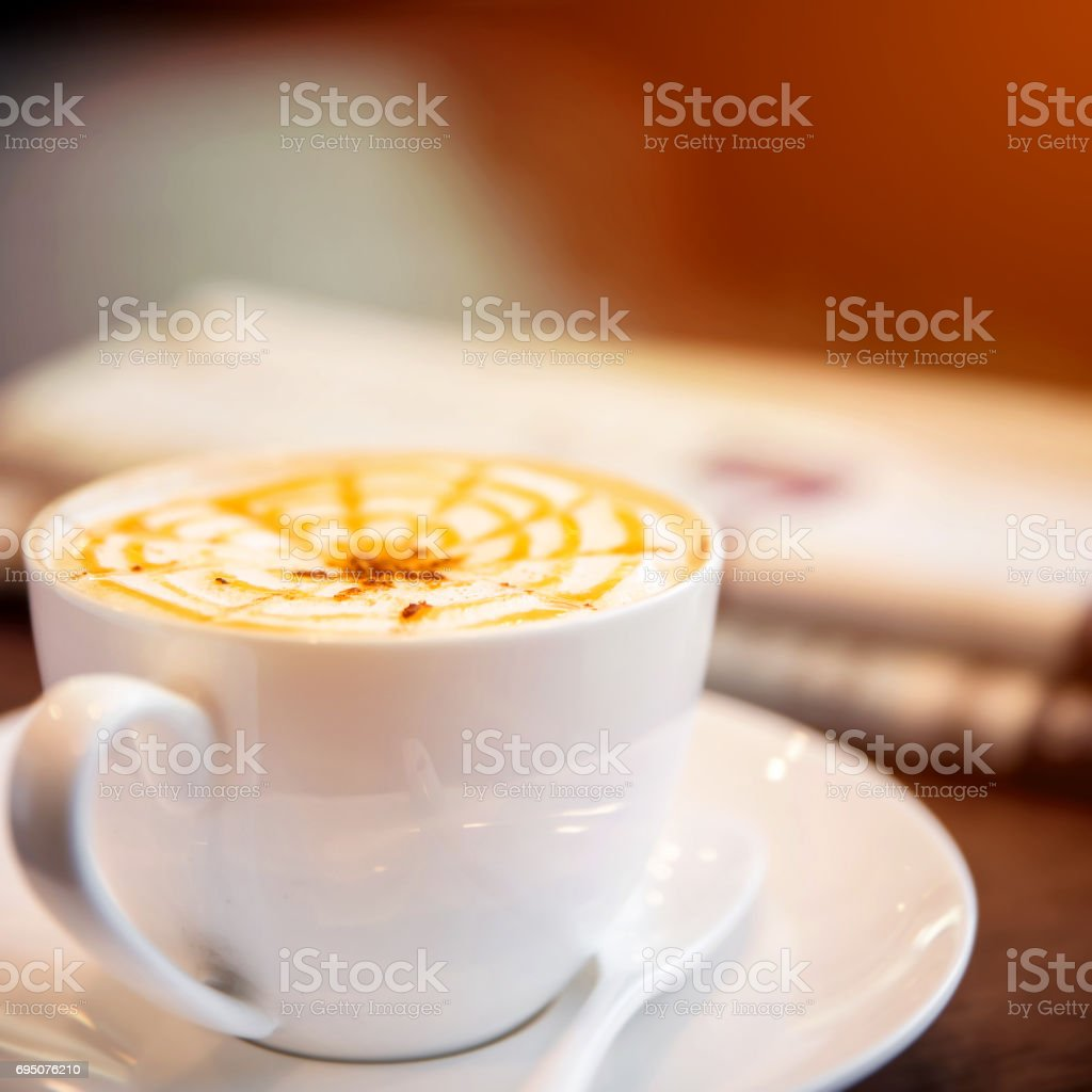 Cappuccino coffee cup stock photo