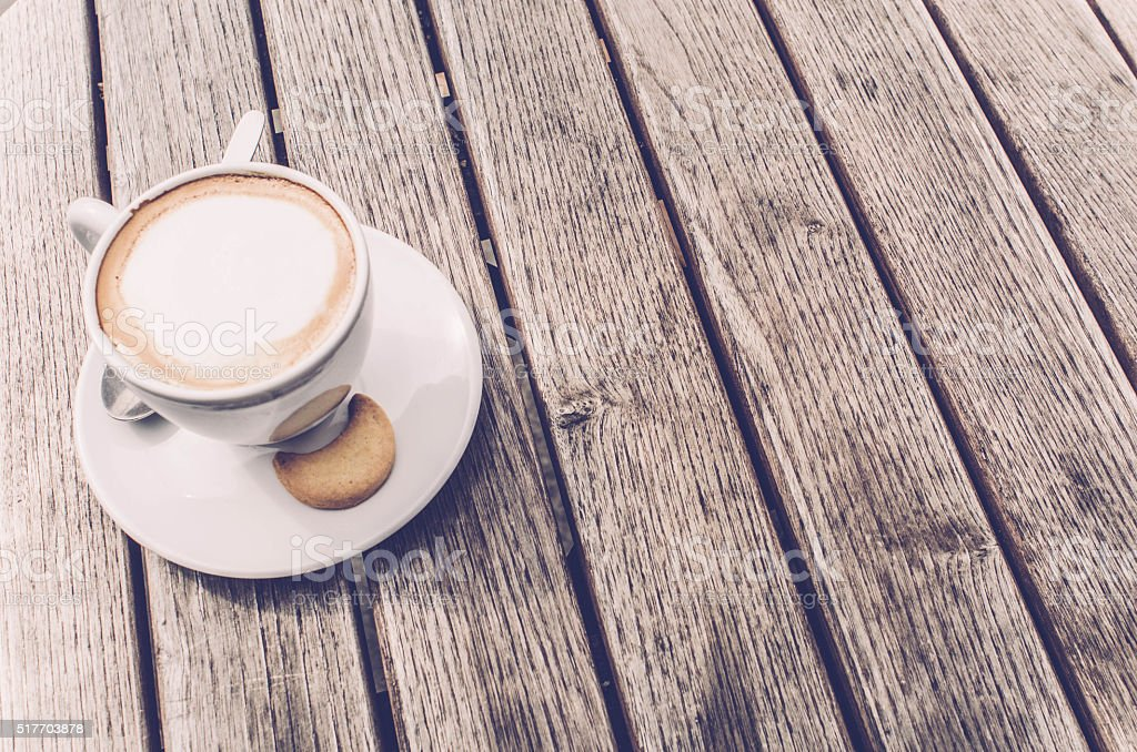 Cappuccino Coffee Cup Top View On Wooden Table Background Italy - Cappuccino coffee table