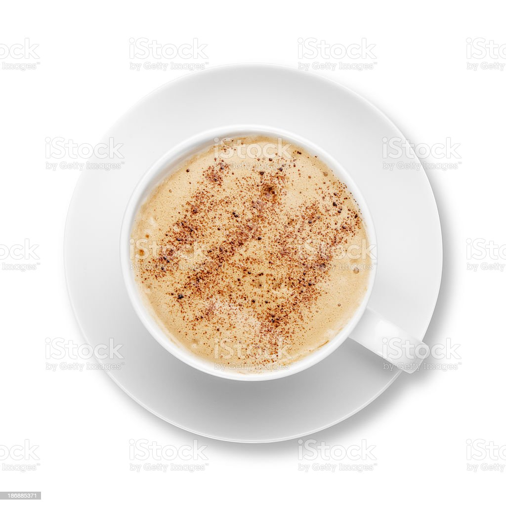 Cappuccino coffee in a white cup with saucer stock photo