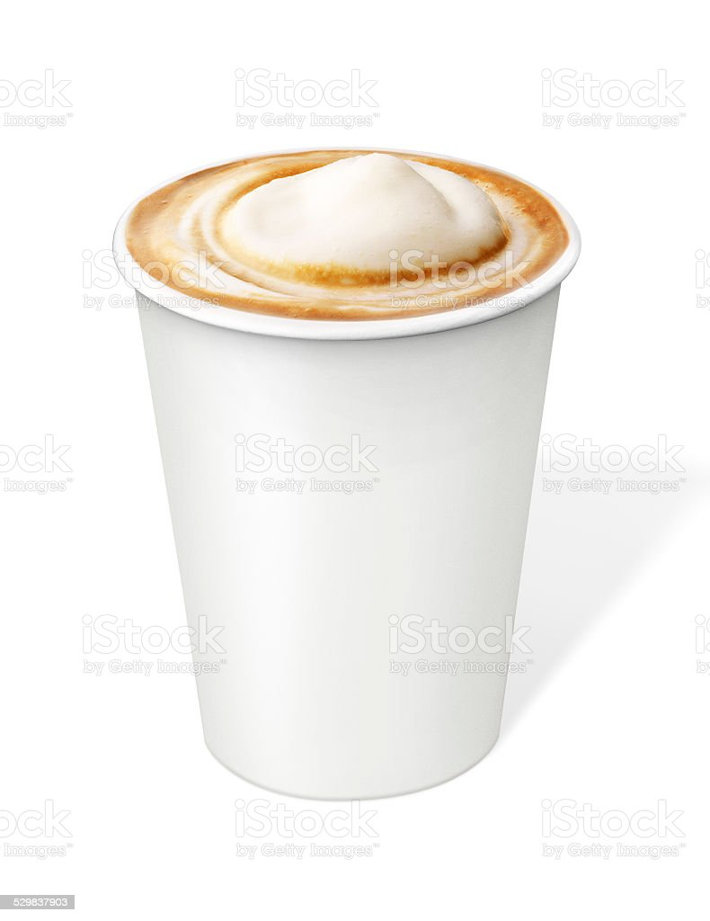 Cappuccino Coffee in disposable cup with clipping path stock photo
