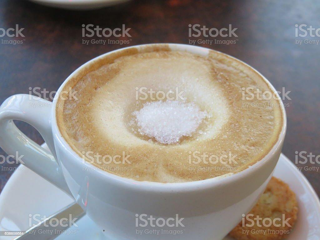 Cappuccino  in a restaurant stock photo