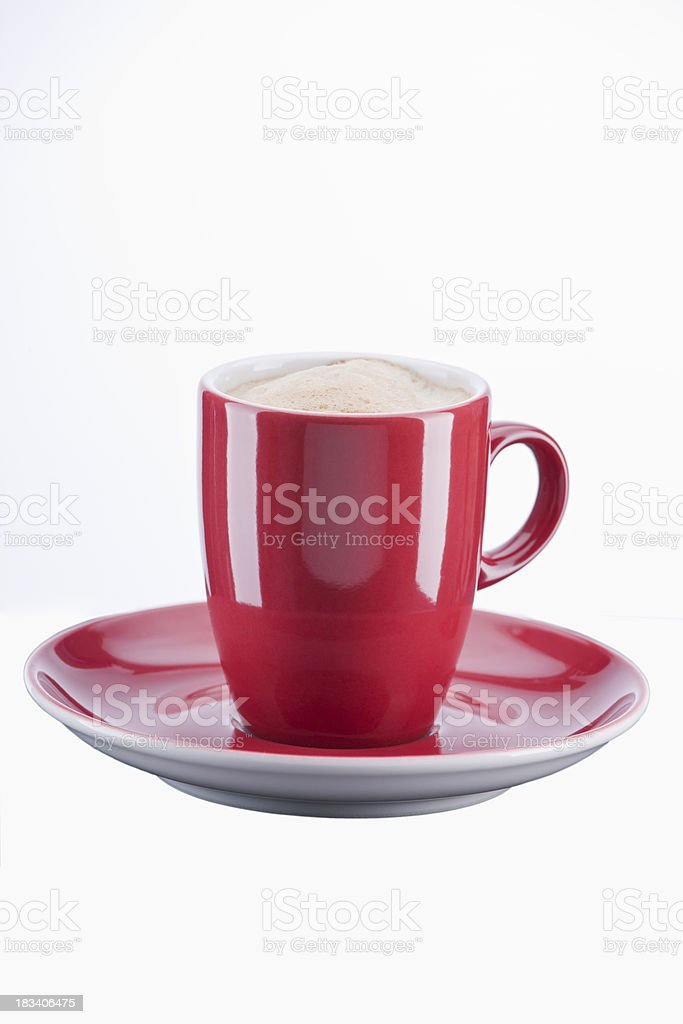 Cappuccino  in Red Porcelain Cup royalty-free stock photo