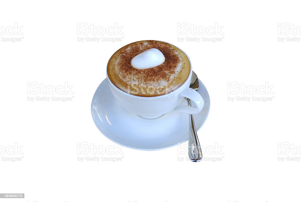 Cappuccino in white cup with saucer stock photo
