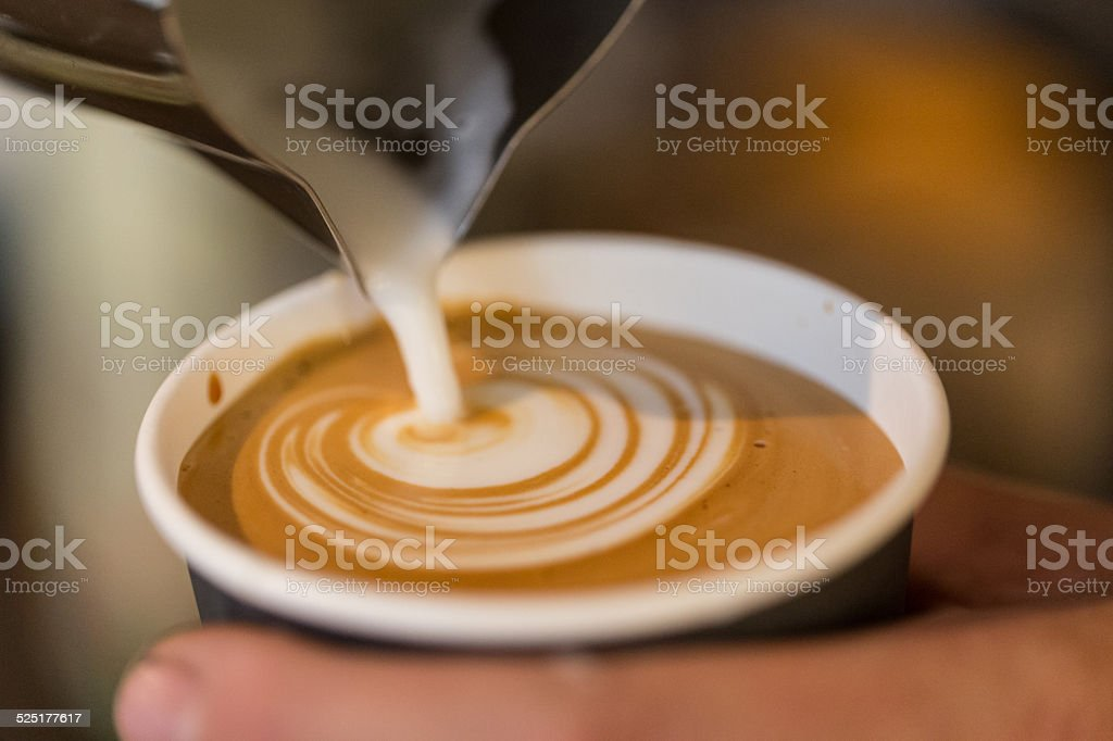 Cappuccino Making Latte art to go stock photo