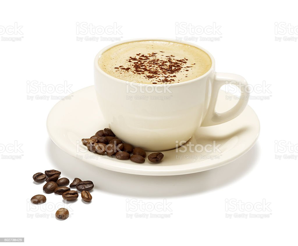cappuccino on a white background stock photo