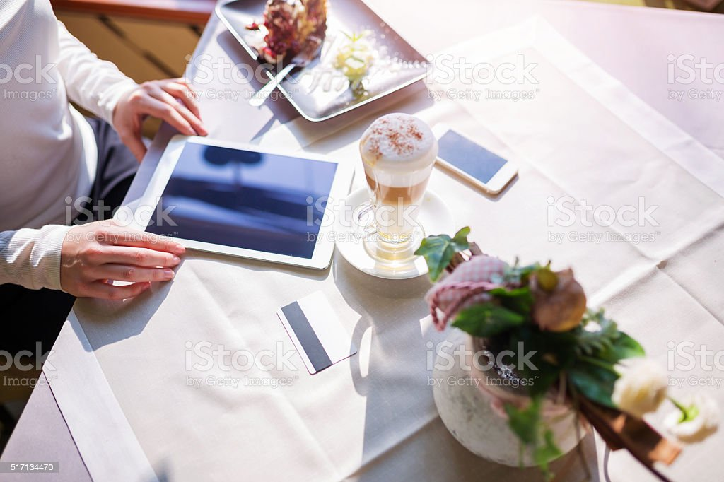 Cappuccino on the table stock photo