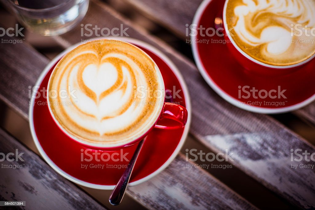 Cappuccino with nice latte art stock photo