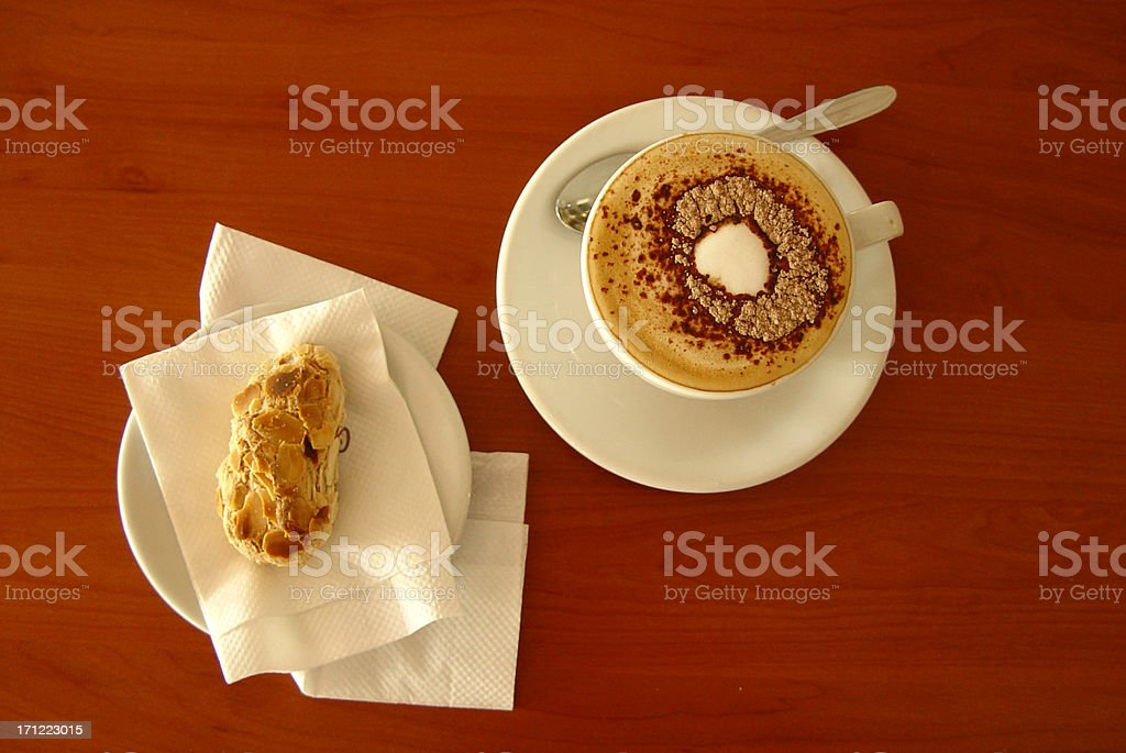 Cappucino and almond cake royalty-free stock photo