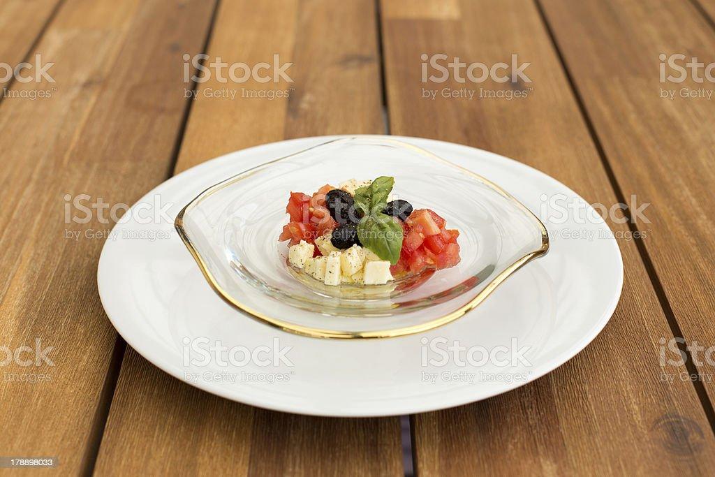 Caprese mozzarella and tomato tartar royalty-free stock photo