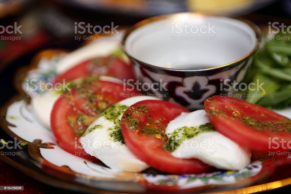 Caprese on a plate stock photo