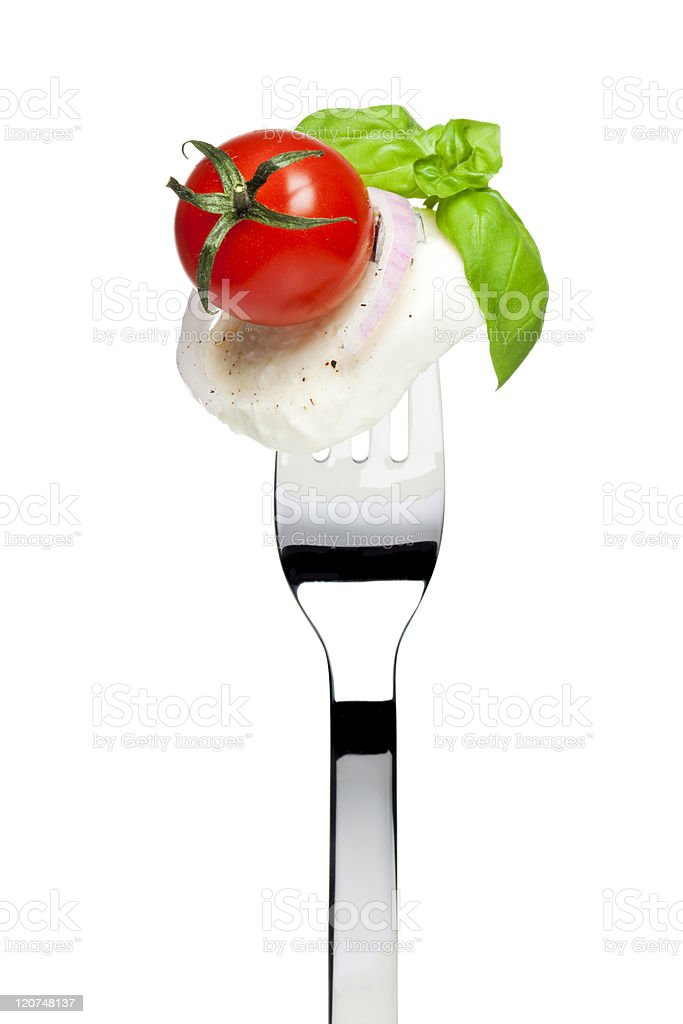 caprese salad on fork royalty-free stock photo
