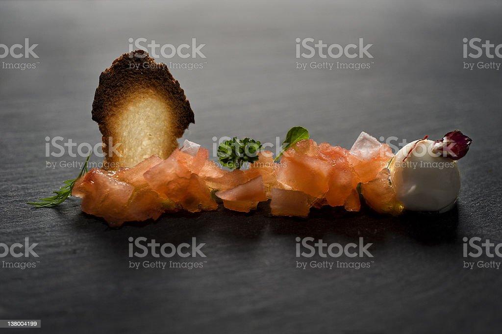 Caprese Salad, tomato and mozzarella stock photo