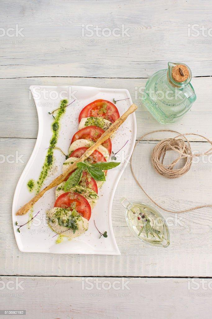 Caprese salad Tomato and mozzarella slices stock photo