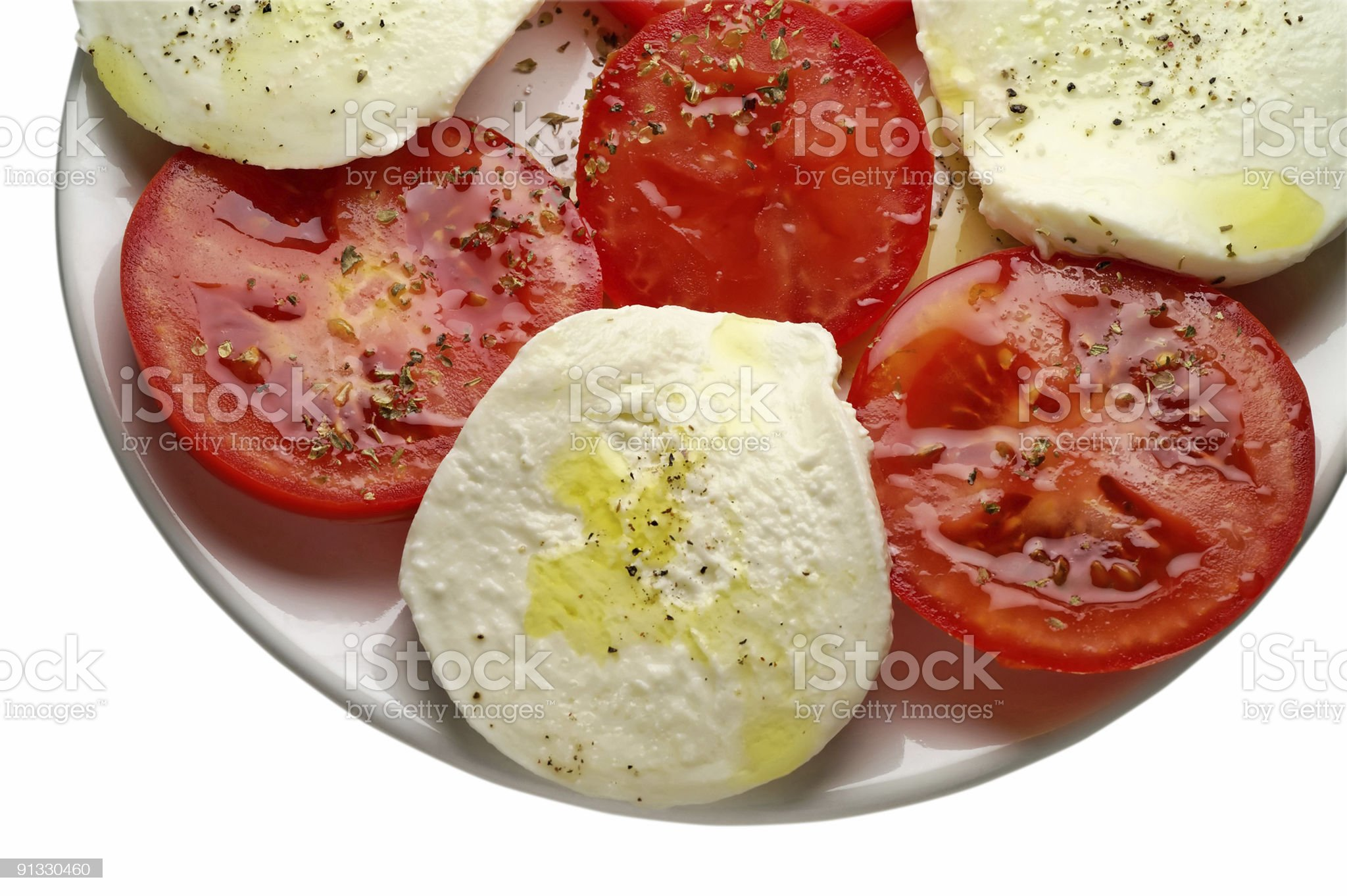 Caprese salad with clipping path royalty-free stock photo
