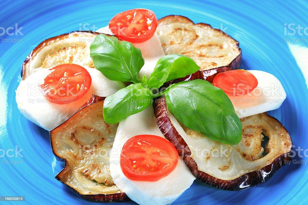 Caprese salad with eggplant stock photo