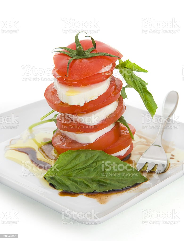 Caprese Salad with Fork royalty-free stock photo