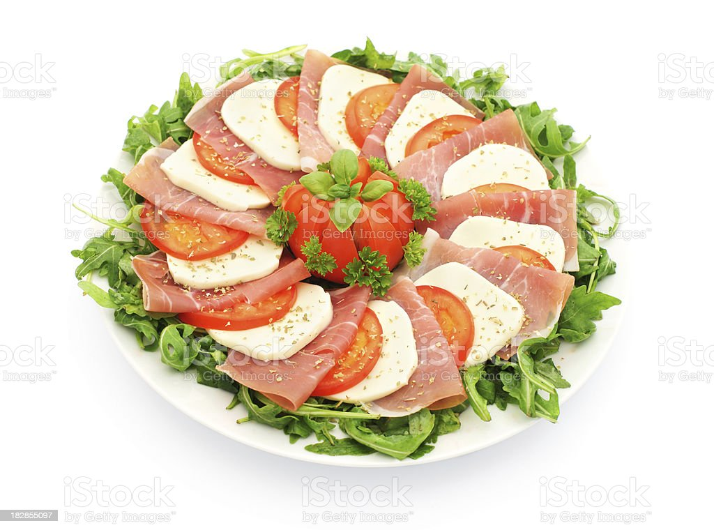 caprese salad with ham royalty-free stock photo