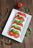 Caprese salad with ingredients