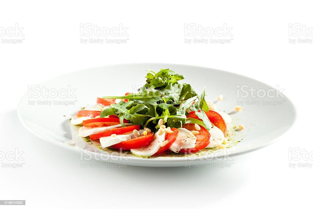 Caprese Salad with Rocket Salad stock photo