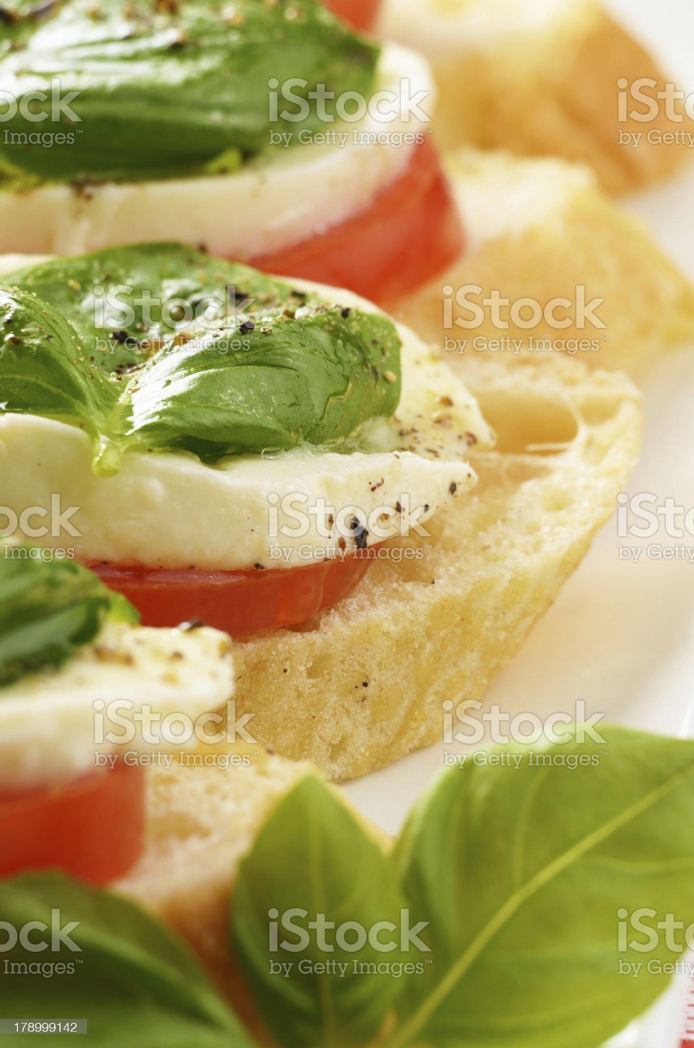 Caprese sandwiches with mozzarella royalty-free stock photo